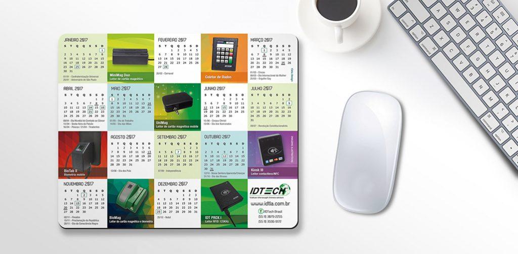 Mouse Pad personalizado com calendário 2017
